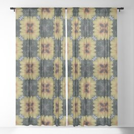 Abstract Summer Yellow Flower Square Pattern Sheer Curtain