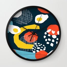 Clutch - vintage memphis style retro throwback 1980s 1980's 80s 80's design illustration pop art  Wall Clock