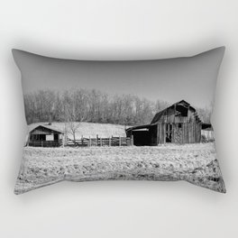 Days Gone By - Old Arkansas Barn in Black and White Rectangular Pillow