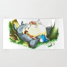 Ghibli forest illustration Beach Towel