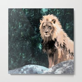 Lion King of the Emerald Panthera Galaxy Metal Print