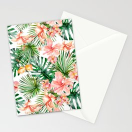 Tropical Jungle Hibiscus Flowers - Floral Stationery Cards