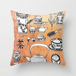 Chinese Tea Doodles 2 Throw Pillow
