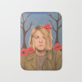 Kurt C Poppy Flower Drawing Colored Pencil Nirvana Heart shaped box Bath Mat