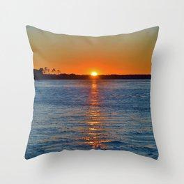 Frozen Bay Sunset Throw Pillow