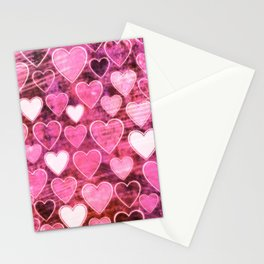 Grungy Pink Hearts Stationery Cards