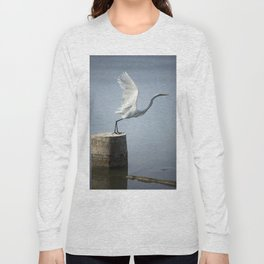 White Heron´s Fly Long Sleeve T-shirt