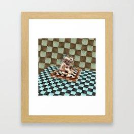 Baby Elephant on the chessboard digital art Framed Art Print