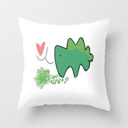 stegosaur-love Throw Pillow