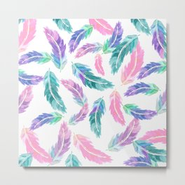 Pastel pink turquoise hand painted watercolor feathers pattern Metal Print