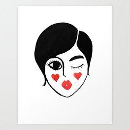 wink kiss Art Print