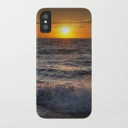 Lake Michigan Sunset with Crashing Shore Waves iPhone Case