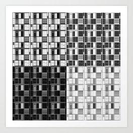 Fun Black-Cuadricula Art Print
