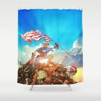 avenger Shower Curtains featuring Captain (Avenger) America by Brian Hollins art