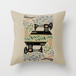 Folk Art / Sewing Memories / Multicoloured Throw Pillow