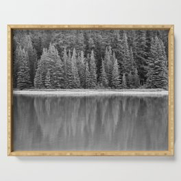 Forest Across the Lake (Black and White) Serving Tray