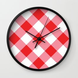 Gingham - Red Wall Clock