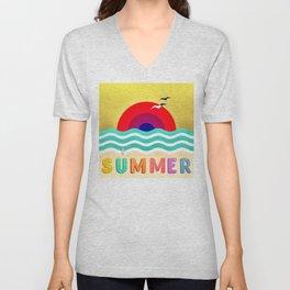 037 HOT SUMMER on the beach Unisex V-Neck