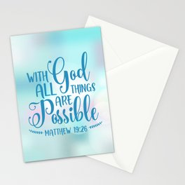 God All Things Possible Bible Quote Stationery Cards