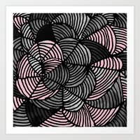 gray pattern Art Prints featuring Abstract Pattern - Gray & Pink by Georgiana Paraschiv