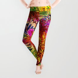 Tropical Hot Heat Flower Hibiscus Garden Leggings