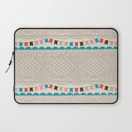 Vintage elegant ivory floral lace colorful flags pattern Laptop Sleeve