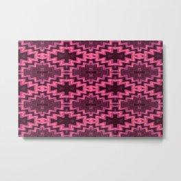 Glowing Aztec Futuristic Quilt Metal Print