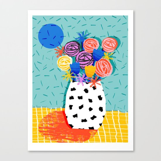 Legit - throwback abstract floral still life memphis retro 80s style vase with flowers Canvas Print