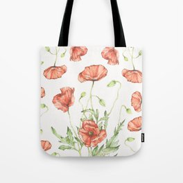Fragile Beauty - Watercolor Poppies Tote Bag