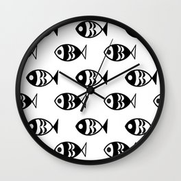 Fish black and white Wall Clock