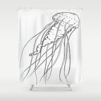 jelly fish Shower Curtains featuring Jelly by Little Mama
