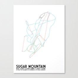 Sugar Mountain, NC - Minimalist Winter Trail Art Canvas Print