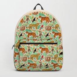 Wild And Wonderful Jungle Friends - Light Beige Background Backpack