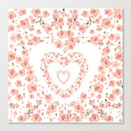 Modern coral pink watercolor valentine's hearts floral Canvas Print