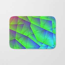 Bright fragments of crystals on irregularly shaped green and purple triangles. Bath Mat