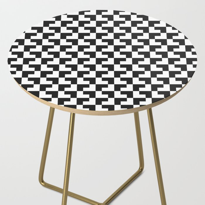 Black and White Tessellation Pattern - Graphic Design Side Table