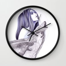 Call Of The Wolves Wall Clock