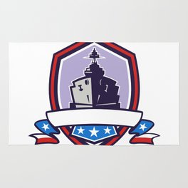 Battleship Stars Stripes Crest Retro Rug