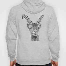 Black and white capricorn animal portrait Hoody