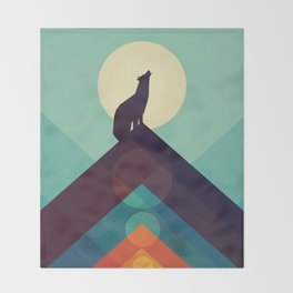 Howling Wild Wolf Throw Blanket