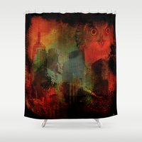 central park Shower Curtains featuring Owls of Central Park by Ganech joe