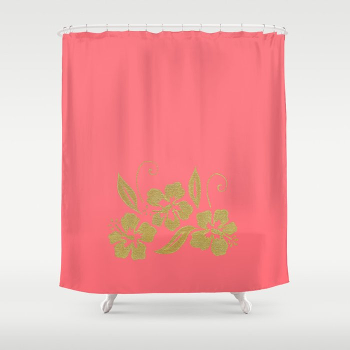 Gold Hibiscus Flowers Shower Curtain