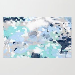 Silva - abstract painting large canvas art print for modern decor cool blue relaxing design urban Rug