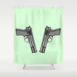 Hip Tattoo Pistols Shower Curtain
