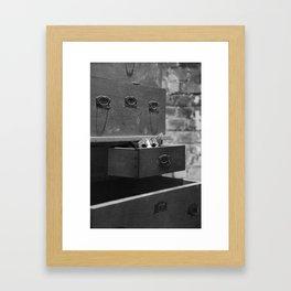 Cat in the closet Framed Art Print