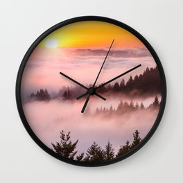 Bolinas Ridge Foggy Sunset Wall Clock