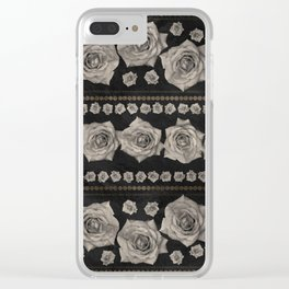 Vintage Floral with Golden Accents #2 Clear iPhone Case
