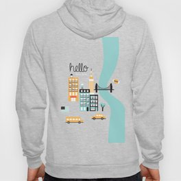 Hello New York - retro manhattan NYC icons illustration Hoody