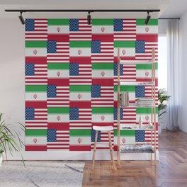 Mix of flag: Usa and Iran. Wall Mural