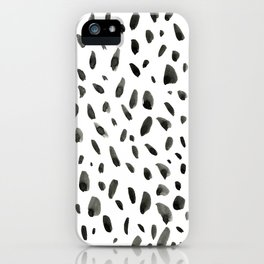 Black ink abstract random background. Hand-drawn spotted pattern on white abstract background iPhone Case